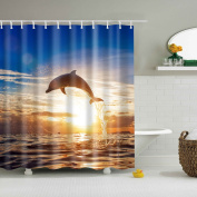 Colorful Eco-friendly Polyester High Quality Washable Bath Decor Shower Curtain Dolphin Size 150x180cm