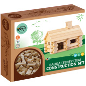VARIS Traditional All Wooden Log Construction Building Toy, 35 Piece Little House
