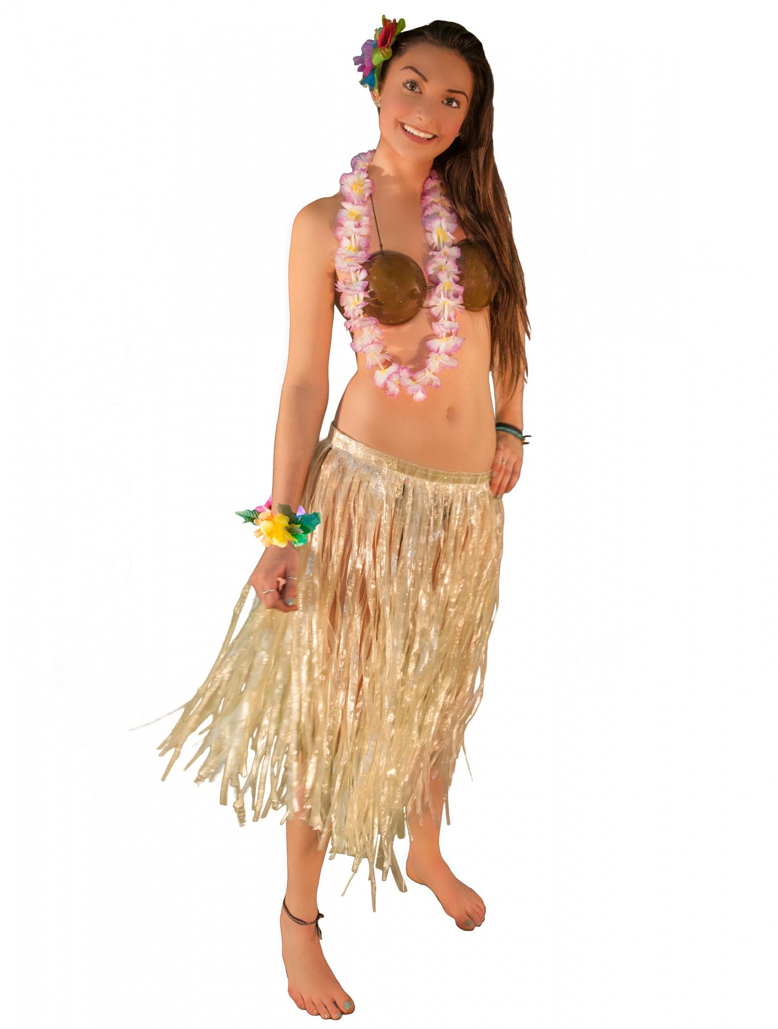 b0767117ee9 Hawaiian Luau Party Grass Skirt Coconut Bra Lei 5pc Hula Girl ...
