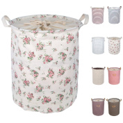 DOKEHOM DKA0812REL2 50cm Large Laundry Basket (Available 45cm and 50cm ), Drawstring Waterproof Round Cotton Linen Collapsible Storage Basket