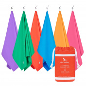 Microfibre Towel & Travel Pouch - Quick Dry, Lightweight, Compact (Extra Large 200x90cm, Large 160x80cm) for travel, yoga, gym, sports, camping - Classic collection - As Seen On Dragons' Den