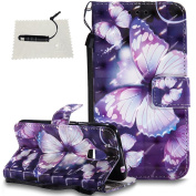 Moto G4 Play Leather Wallet Case,TOCASO Folio Leather Wallet Case with [Kickstand][Card Slots][Magnetic Closure] Flip Notebook 3D Painted Leather Holster Leather Case for Moto G4 Play-Purple Butterfly