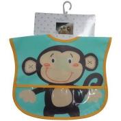 Newborn Baby Boys Waterproof Bibs Cute Monkey Pattern With Crumb Catcher