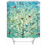 European Style Bathroom Accessories Waterproof Shower Curtains Tree Birds