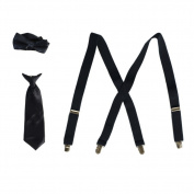 Boys Navy Suspender Bow-Tie Tie Combo Special Occasion Set