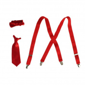 Boys Red Suspender Bow-Tie Tie Combo Special Occasion Set