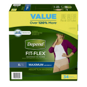 Depend FIT-FLEX Incontinence Underwear for Women, Max Absorbency, XL, 34 count