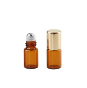Amber Glass Mini Small Capacity 15 Pcs Empty Diy Roll on Bottles Perfumes Lip Balm Cosmetic Sample Roller Glass Bottles Fragrance Essential Oils Metal Rollerball Bottles With Gold Caps