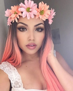 Synthetic Long Straight Wigs Middle Part Wigs for Women Pastel Pink Wig Ombre Popular Long Natural Wig Two Tone Wigs 70cm