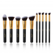 Jessup Brand 10pcs Kabuki Professional Makeup Beauty Cosmetic Concealer Buffer Eyelashes Blending Liner Foundation Fibre Hair Make up Tools Black/Gold T057