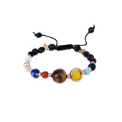 Cool Ring Women's Vintage Universe Solar System Galaxy Eight Planets Stone Beads Braided Bracelet Gift
