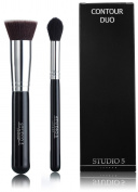 Contour Duo by Studio 5 Cosmetics - Pro Highlighter Brush and Kabuki - Contour, Blend, Highlight
