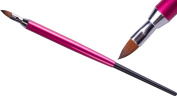 Katzenzungen Brush for Working with 3D/4D Clay Gel and Acrylic Flowers Etc. Pink Metal Brush Handle