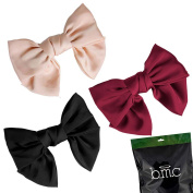 BMC Womens Satin Big Bow Hair Clip Barrette Accessory - Solid Colours Mixed Lot