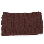 Women Winter Warmer Knitted Headband Stretch Crochet Fashion Hairband Headwear,coffee colour