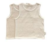 Lian LifeStyle Infant Baby's 1 PK Organic Cotton Undershirt Tank Beige Ivory Strip Size