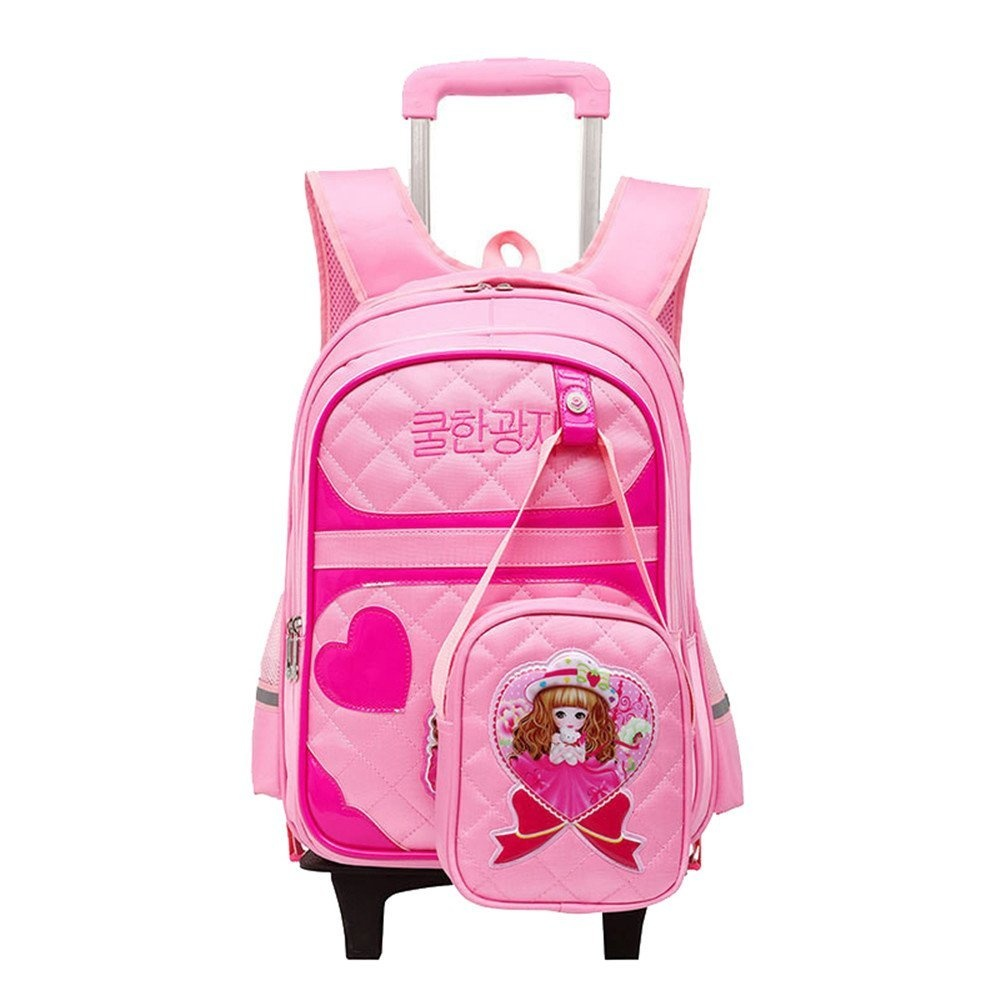 122ecbc95144 Fanci 2Pcs Cartoon Girls Kids Rolling School Backpack Trolley Nylon Carry  on Luggage With Two Wheels