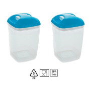 Set of 2 Containers hermeticos Square with Blue Lid 1.2 Litres – BPA Free.