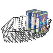 mDesign Kitchen Lazy Susan Wire Storage Basket with Handle - 1/4 Wedge, Matte Black