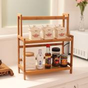WENZHE Kitchen Storage Rack Spice Cooker Shelf Seasoning Storage Bamboo Multifunction, 2 Layer, 54 * 41 * 18cm