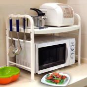 WENZHE Kitchen Storage Rack Spice Cooker Shelf Microwave Oven Oven Stainless Steel White, 2 Layer, 55.5 * 37 * 56.5cm