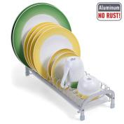 Tatkraft HELPER Aluminium Dish Drainer with Removable Drip Tray Sturdy Anti Slip Feet 40,5X15XH9 cm