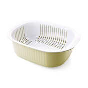 Double drain water basket plastic fruit basket to wash dishes with fruit and vegetable basket drain water sieve washing dishes, wash their food basket, light green