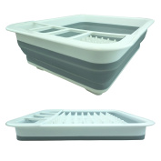 Bid Buy Direct® Collapsible Plastic Dish Drainer Rack   Over the Sink Dish Drainer Set with Cutlery Holder