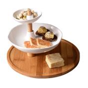 WENZHE Fruit plate Rack Dish Bowl Dim Sum Frame Ceramics Rotate Multifunction, 3 Layers, 26.5 * 20cm fruit holder