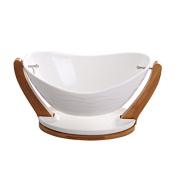 WENZHE Fruit plate Rack Dish Bowl Dried Fruit Plate Ceramics Can Drain Multifunction, 34 * 17.5cm fruit holder