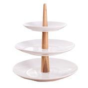 WENZHE Fruit plate Rack Dish Bowl Dessert Table Ceramics White Bamboo, 3 Layers, 30 * 29cm fruit holder