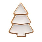 WENZHE Fruit plate Rack Dish Bowl Ceramics Bamboo Christmas Tree Multifunction, 3 Layers, 27.5 * 20cm fruit holder