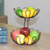WENZHE Fruit plate Rack Dish Bowl Lotus Shape Lek Fruit Bowl Multifunction, 2 Layer, 25 * 30cm fruit holder