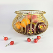 WENZHE Fruit Plate Rack Dish Bowl Fruit Bowl Metal Multifunction, Gold / Black, 30 * 16cm fruit holder