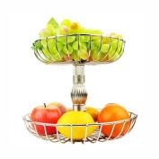 WENZHE Fruit plate Rack Dish Bowl Storage Basket Stainless Steel Multifunction, 2 Layer, 295 * 245mm fruit holder