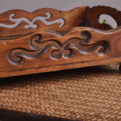 WENZHE Fruit plate Rack Dish Bowl Wood Carving Openwork Crafts, 31 * 23 * 12cm fruit holder