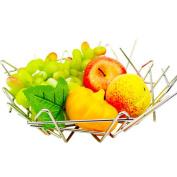 WENZHE Fruit plate Rack Dish Bowl Creative Irregular Lines Stainless Steel, 320 * 97mm fruit holder