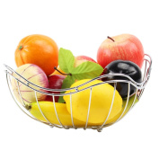 WENZHE Fruit plate Rack Dish Bowl Drain Basket Candy Storage Stainless Steel, 23x12cm fruit holder