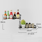 DZW Kitchen racks seasoning storage rack can rotate angle 304 stainless steel material wall shelf no need to punch seasoning rack , 2 layer rotating condiment shelf (no hole installation).Simple