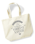 Nannie Birthday Gift or Christmas Gift Bag, Tote, Shopping Bag, Birthday Gift, Present, Gifts For Women, Worlds Coolest Nannie