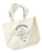 Aunt Birthday or Christmas Gift Bag, Tote, Shopping Bag, Birthday Gift, Present, Gifts For Women, Worlds Coolest Aunt