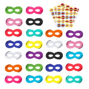 superhero masks, cosplay party eye masks for kids with 100 round superhero stickers, 24pcs multicolor masks by aimike