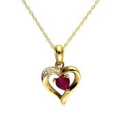 Ivy Gems 9ct Yellow Gold Ruby and Diamond Heart Pendant with 46cm Chain