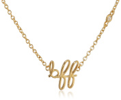 "Shy By Sydney Evan Sterling Silver Yellow Gold Plated ""Bff"" Necklace with Diamond Bezel of 41.275cm"