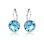 MYJS Bella Rhodium Plated Mini Drop Earrings with Aquamarine Blue Crystals