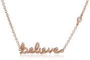 "Shy By Sydney Evan Sterling Silver Rose Gold Plated ""Believe"" Necklace with Diamond Bezel of 41.275cm"