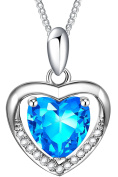 OSTAN Jewellery Love in Heart Blue Crystals Sterling Silver Heart Pendant Necklace