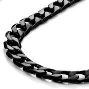 Powerful Mens Necklace Black 316L Stainless Steel Chain 46, 54, 59-CM,