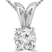 1/5 CT Solitaire Round Diamond Pendant Necklace in 14K White Gold With Chain