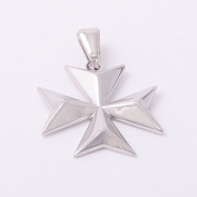 Amalfi MALTA MALTESE CROSS of St John Solid Sterling Silver 925 Pendant Large Size
